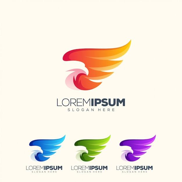 Impressionante aquila logo design illustrazione vettoriale Vettore Premium
