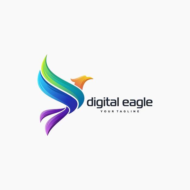 Impressionante aquila logo design vettoriale Vettore Premium