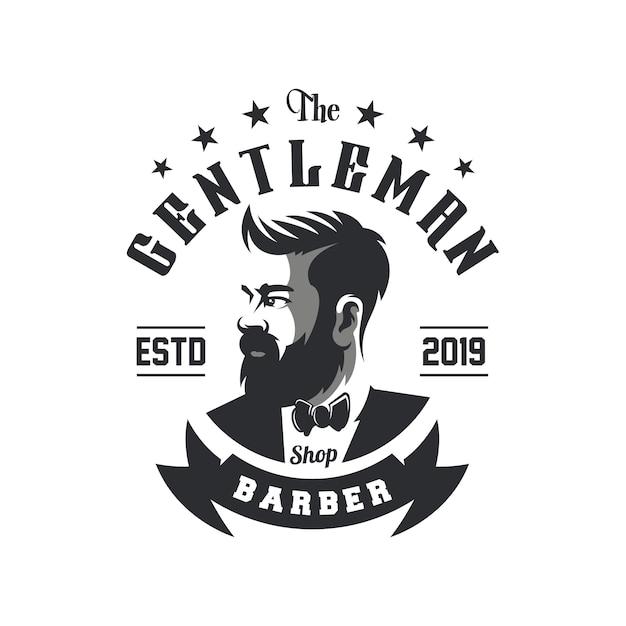Impressionante barbershop logo design vettoriale Vettore Premium