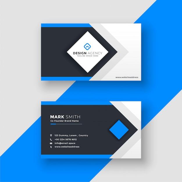 Impressionante design geometrico blu biglietto da visita Vettore gratuito