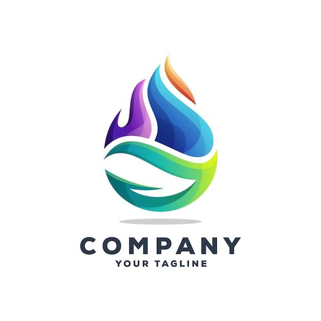 Impressionante goccia d'acqua logo design vettoriale Vettore Premium