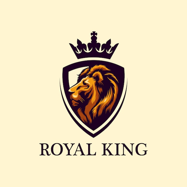 Impressionante leone logo design vettoriale Vettore Premium