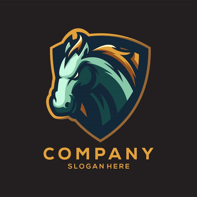 Impressionante logo del cavallo v Vettore Premium
