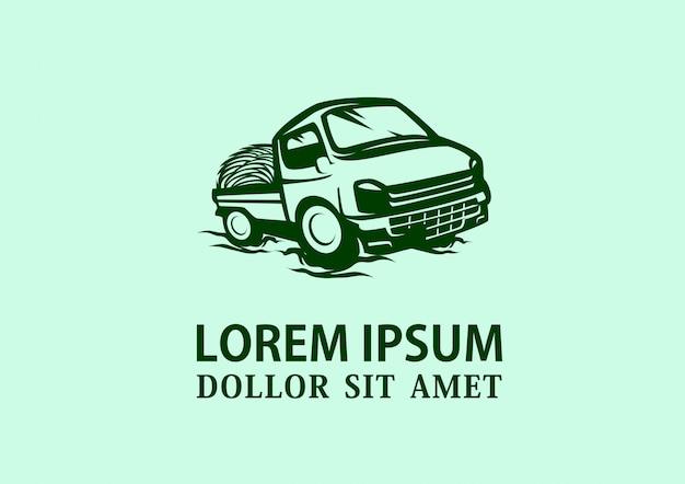 Impressionante mini camion semplicemente logo design vettoriale Vettore Premium