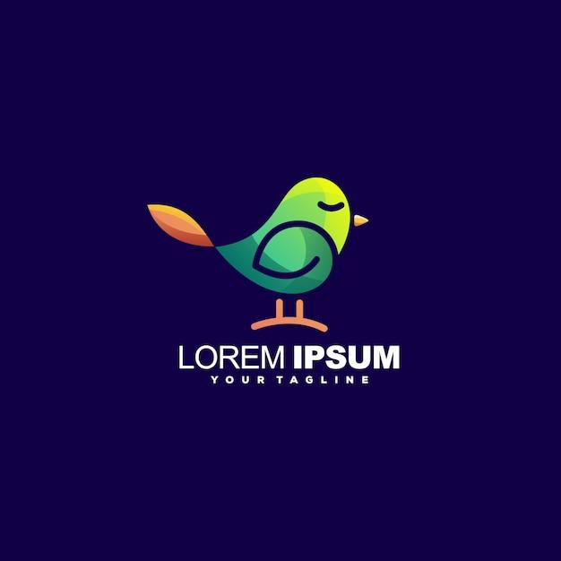 Impressionante uccello logo design vettoriale Vettore Premium