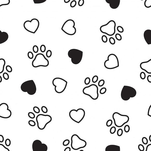 Impronta di cuore senza cuciture zampa di cane Vettore Premium
