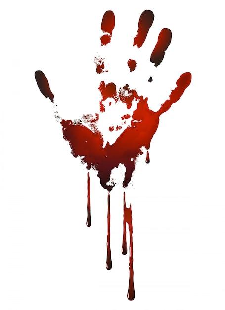 Impronta di mano insanguinata Vettore Premium
