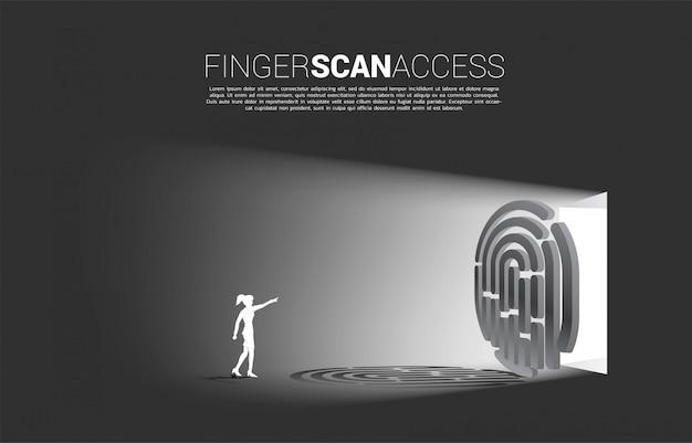 Impronta digitale di tocco della donna di affari sull'icona di scansione del dito per accedere al cancello Vettore Premium