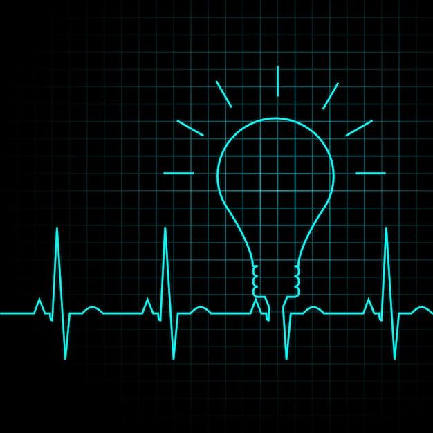 Impulso della lampadina come un battito cardiaco, concetto di idea di business Vettore Premium