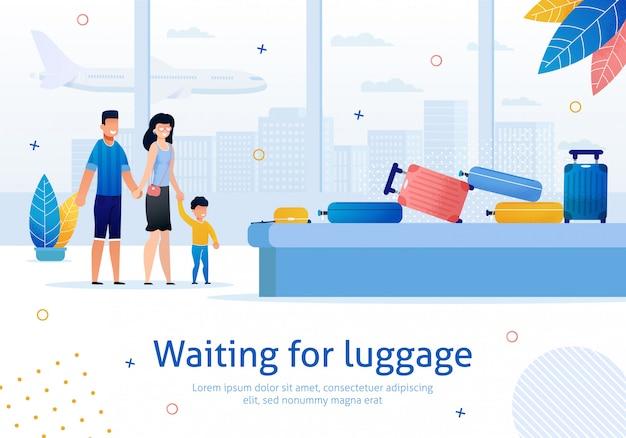 In attesa di bagagli in aeroporto piatto banner Vettore Premium