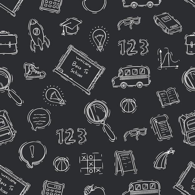 In bianco e nero del modello senza giunte di scuola di doodle sulla lavagna Vettore Premium