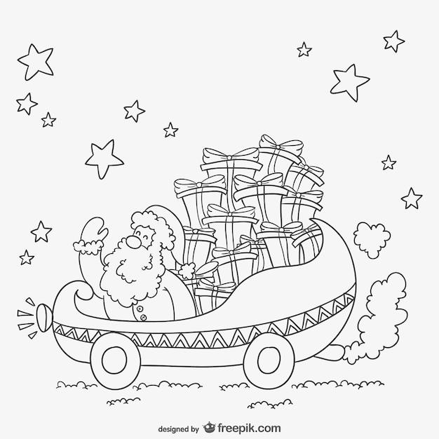 Immagini Di Babbo Natale In Bianco E Nero.In Bianco E Nero Di Disegno Babbo Natale Scaricare Vettori