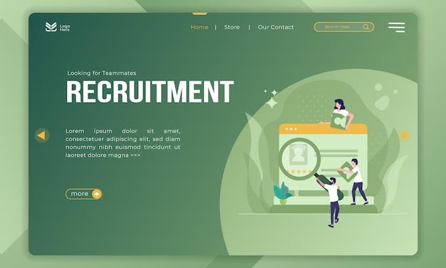 In cerca di compagni di squadra, illustrazione di reclutamento sulla pagina di destinazione Vettore Premium