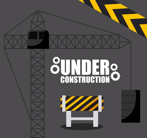 In costruzione con recinzione barricata per sito web Vettore Premium