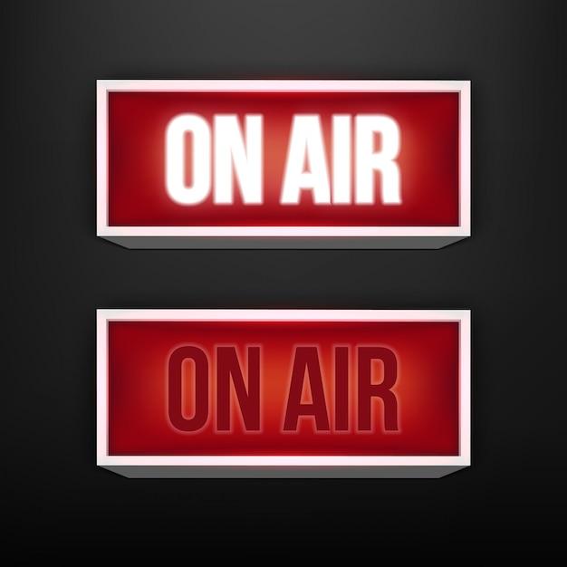 In diretta tv incandescente, stazione radio, trasmissione. Vettore Premium