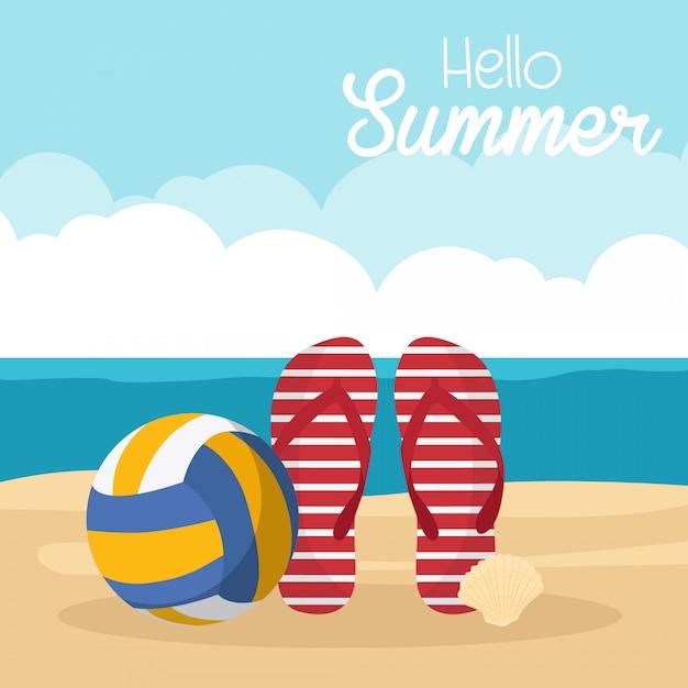 In vacanza estiva, articoli estivi sulla spiaggia - beach volley, pantofole, conchiglia Vettore Premium