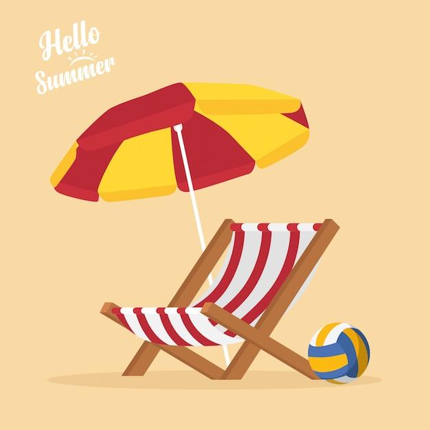 In vacanza estiva, articoli estivi sulla spiaggia - beach volley, sdraio, ombrellone Vettore Premium