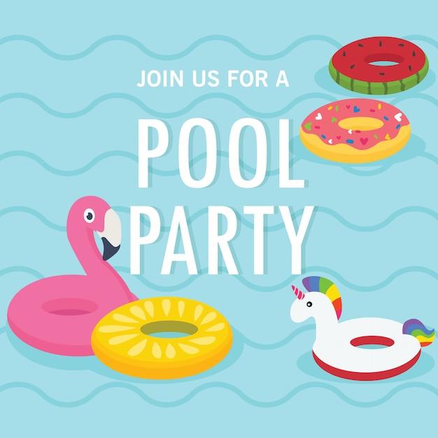 In vacanza estiva, invito a una festa in piscina. piscina e anelli gonfiabili Vettore Premium