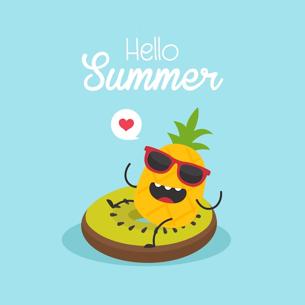 In vacanza estiva, kiwi gonfiabile con ananas in una piscina Vettore Premium