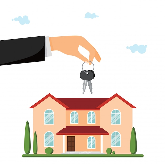In vendita villa o casa di campagna. mano dando le chiavi Vettore Premium