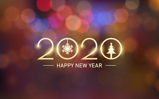 Incandescente dorato felice anno nuovo 2020 con bokeh e riflesso lente sullo sfondo di colore arancione vintage Vettore Premium