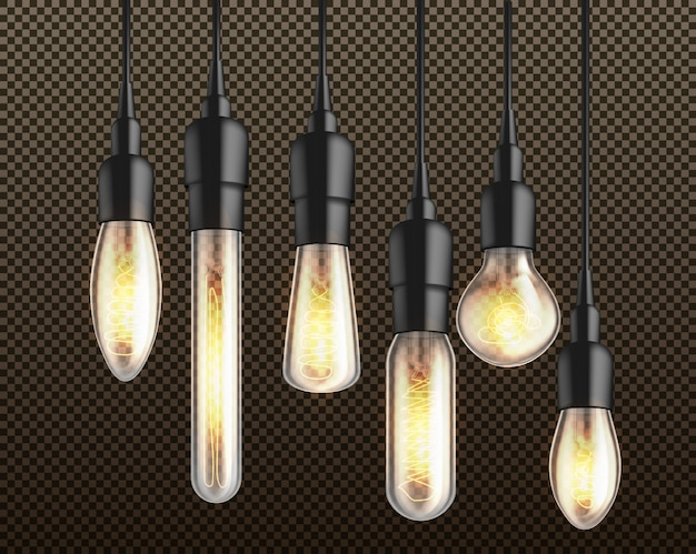 Incandescente nel buio diverse forme e forme di lampadine ad incandescenza con filamento di filo riscaldato appeso dall'alto su filo nero e supporti 3d vettoriale realistico isolato Vettore gratuito