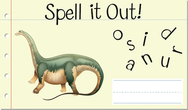 Incantesimo parola inglese dinosauro Vettore gratuito