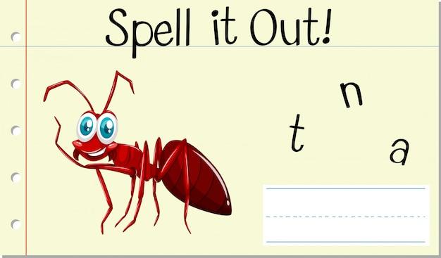 Incantesimo parola inglese formica Vettore gratuito
