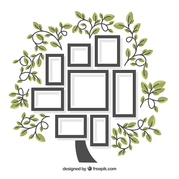 Incantevole albero piatto con cornici Vettore gratuito