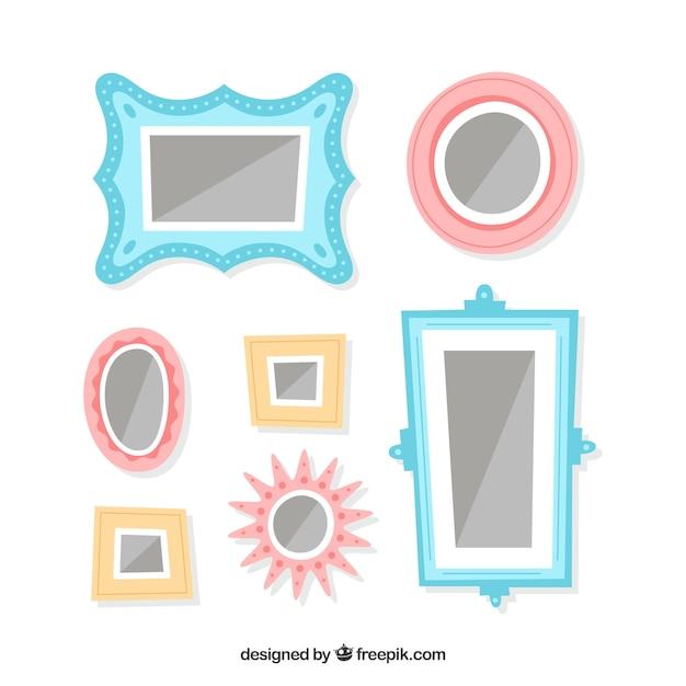 Incantevole collage di cornici fotografiche con design piatto Vettore gratuito