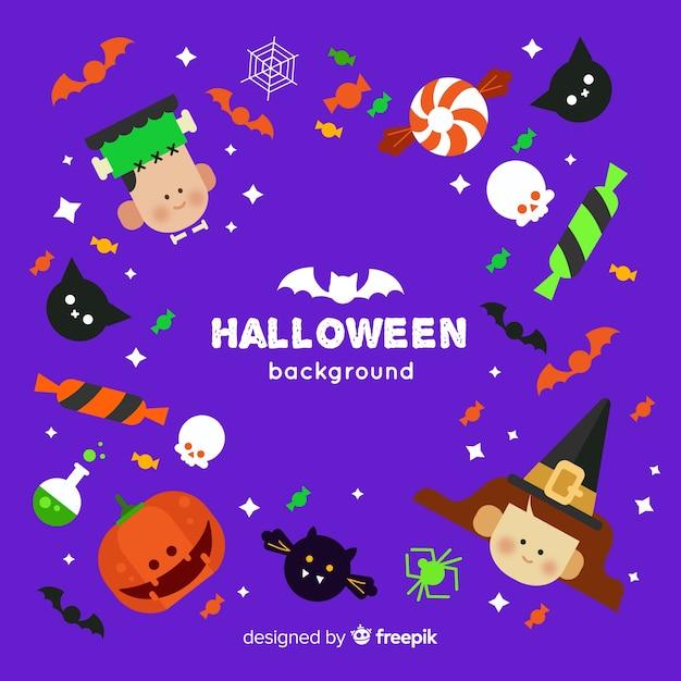 Incantevole sfondo di halloween con design piatto Vettore gratuito