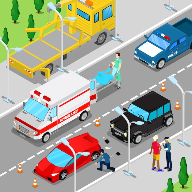 Incidente d'auto di città isometrica con ambulanza, rimorchio e veicolo della polizia. Vettore Premium