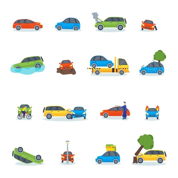 Incidente stradale che coinvolge l'illustrazione di vettore della via della città dell'incidente stradale. Vettore Premium