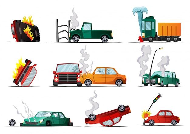 Incidente su strada. veicolo danneggiato dall'auto. illustrazione del veicolo di incidente, auto danneggiata. caso di assicurazione. set di auto cartone animato rotto Vettore Premium
