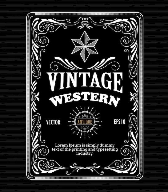 Incisione disegnata a mano retrò etichetta occidentale telaio bordo occidentale Vettore Premium