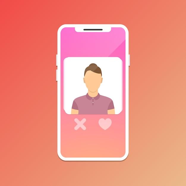 Incontri concetto di app mobile. Vettore Premium