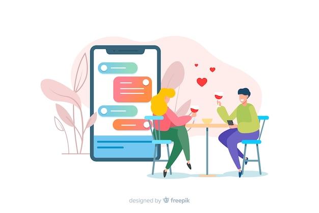 Incontri il concetto di app con il ragazzo e la ragazza illustrati Vettore gratuito
