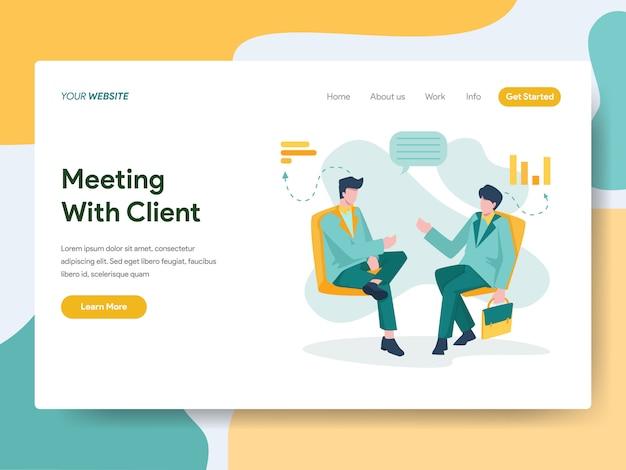 Incontro d'affari con il cliente per la pagina del sito web Vettore Premium