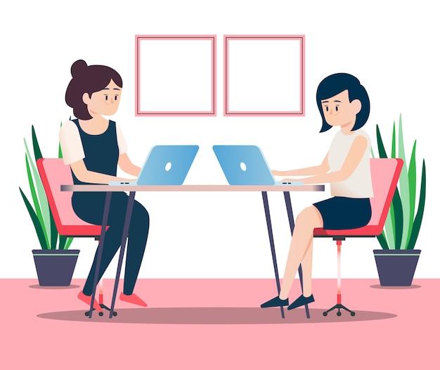 Incontro di donne d'affari Vettore Premium
