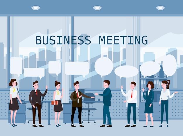 Incontro di uomini d'affari Vettore Premium
