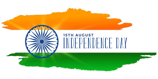 Independence day of india bandiera tricolore acquerello Vettore gratuito