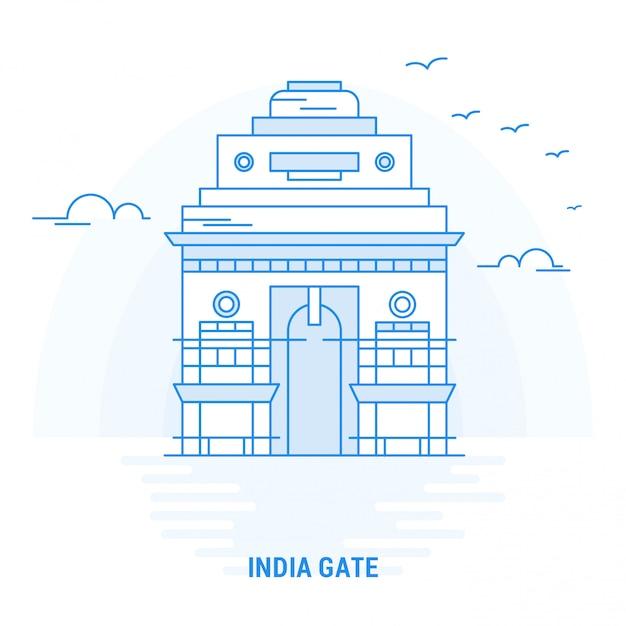 India gate blue landmark Vettore Premium