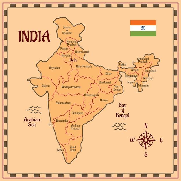 India mappa stile piano Vettore Premium