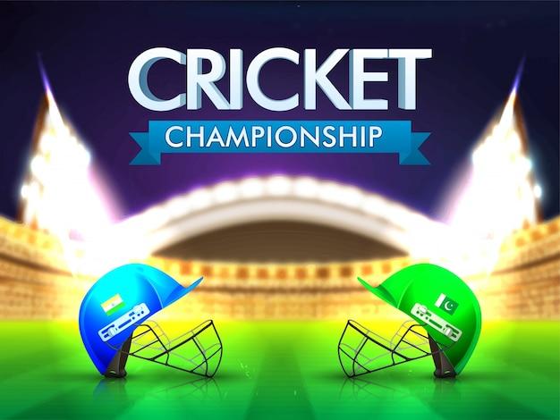 India vs pakistan cricket match concetto con caschi batsman sullo sfondo dello stadio lucido. Vettore gratuito