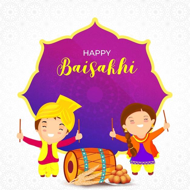 Indian festival baisakhi concept. Vettore Premium