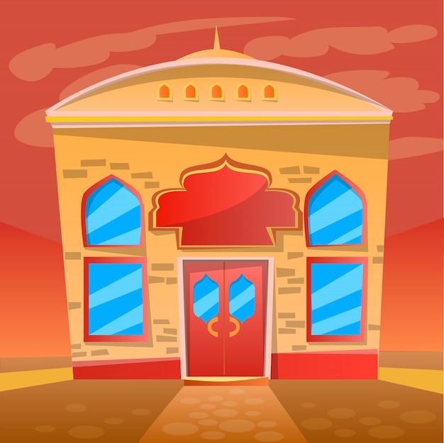 Indian restaurant cafe service, exterior of diner Vettore Premium