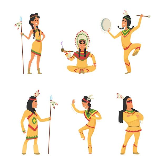 Indiani nativi americani. Vettore Premium