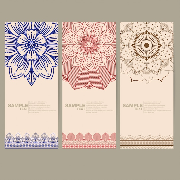 Indiano floreale paisley Vettore Premium