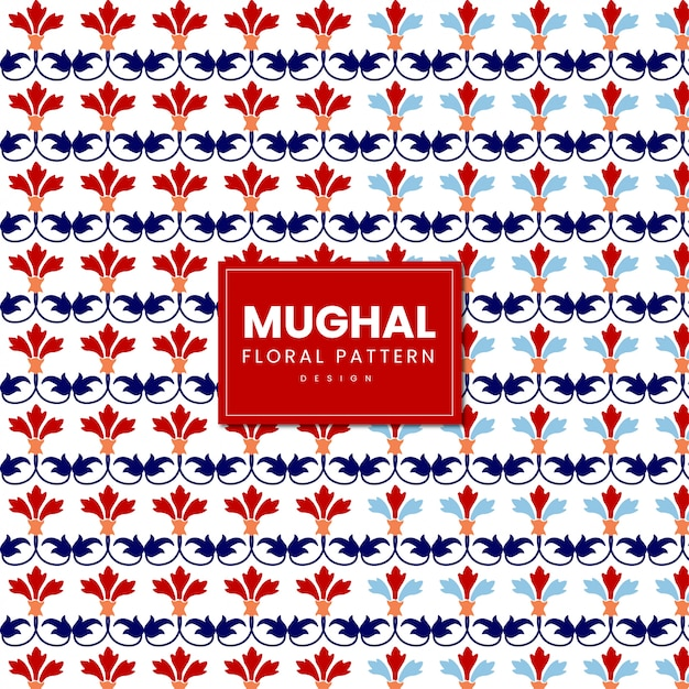 Indiano mughal floral pattern design Vettore Premium