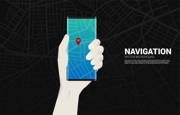 Indicatore di pin 3d gps e telefono cellulare in mano. concetto di posizione e luogo della struttura, tecnologia gps Vettore Premium